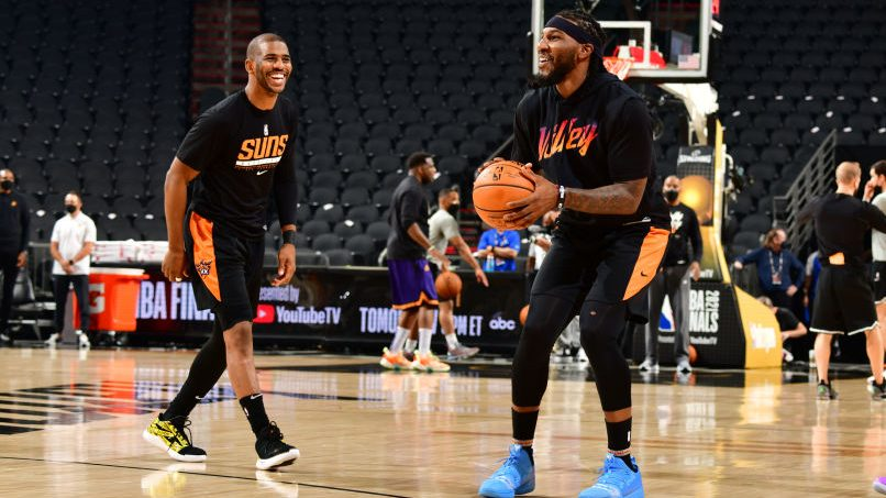 Chris Paul and Jae Crowder at 2021 NBA Finals - Practice and Media Availability