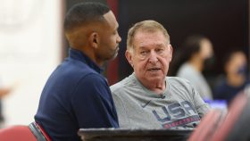 Grant Hill and USA Basketball managing director Jerry Colangelo