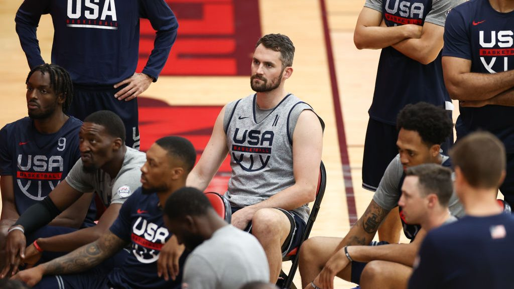 Kevin Love with Team USA before Tokyo Olympics