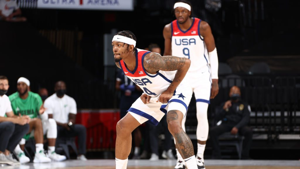 Wizards star Bradley Beal and Pistons forward Jerami Grant with Team USA