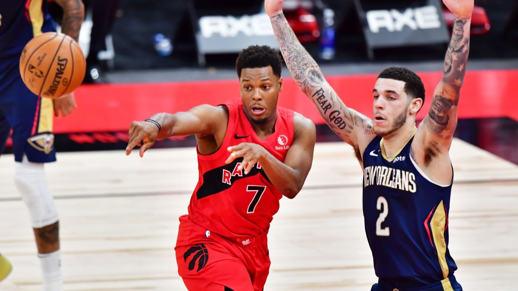 Raptors guard Kyle Lowry and Pelicans guard Lonzo Ball