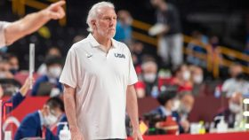 Spurs coach Gregg Popovich at Team USA-France men's basketball game at Tokyo Olympics