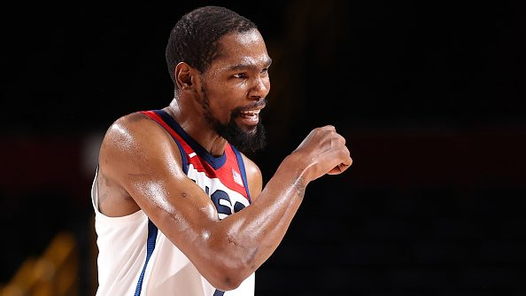 Kevin Durant in Team USA-Czech Republic at Tokyo Olympics