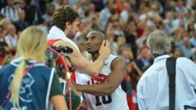 Pau Gasol of Spain and Kobe Bryant of Team USA at the London Olympics