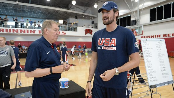 USA Basketball managing director Jerry Colangelo and now-Cavaliers big Kevin Love