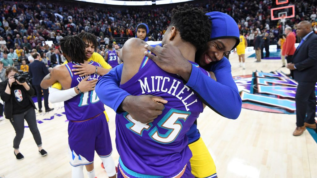 Eric Paschall and Donovan Mitchell after Golden State Warriors v Utah Jazz
