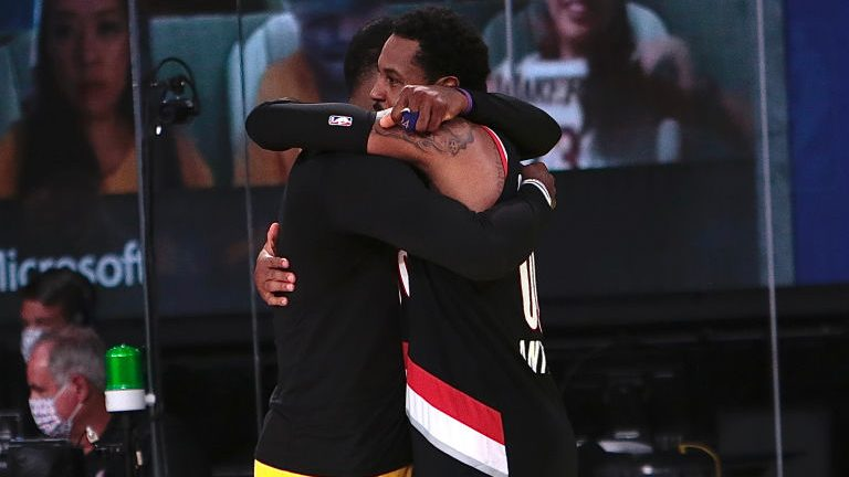 LeBron James and Carmelo Anthony after Portland Trail Blazers v Los Angeles Lakers - Game Five