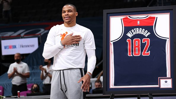 Russell Westbrook after breaking the record held by Oscar Robertson for career triple-doubles