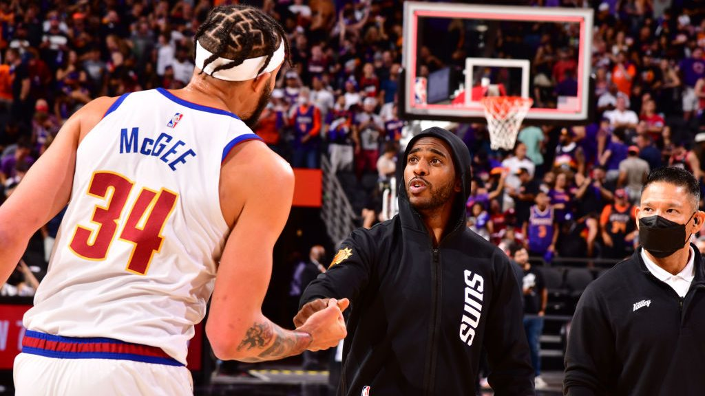 Chris Paul and JaVale McGee after Denver Nuggets v Phoenix Suns