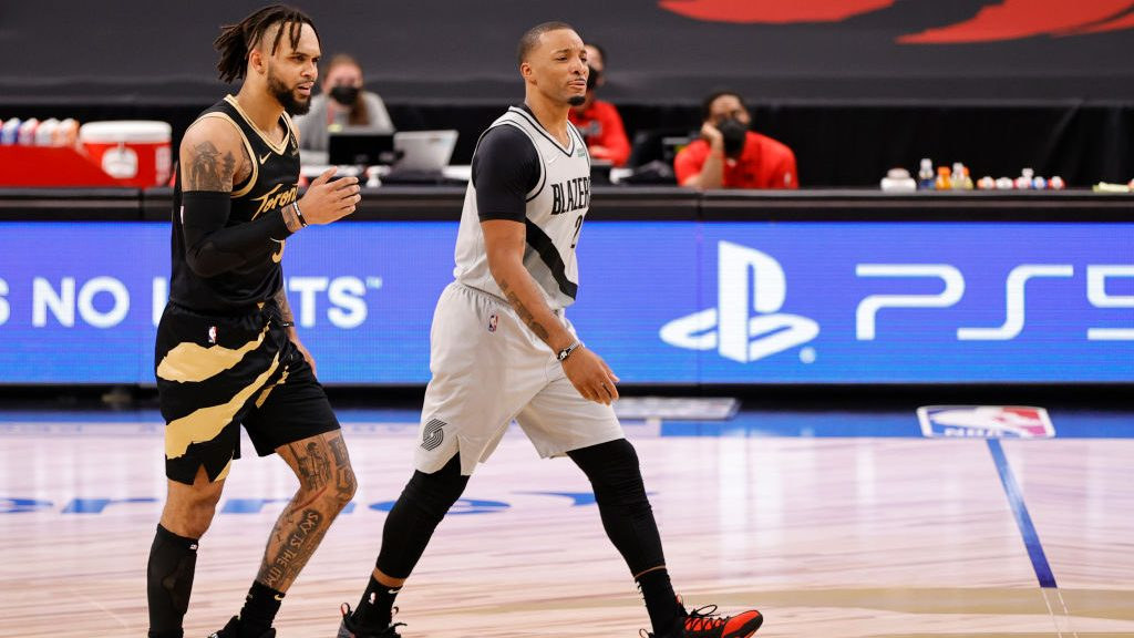 Gary Trent Jr. and Norman Powell in Raptors-Trail Blazers