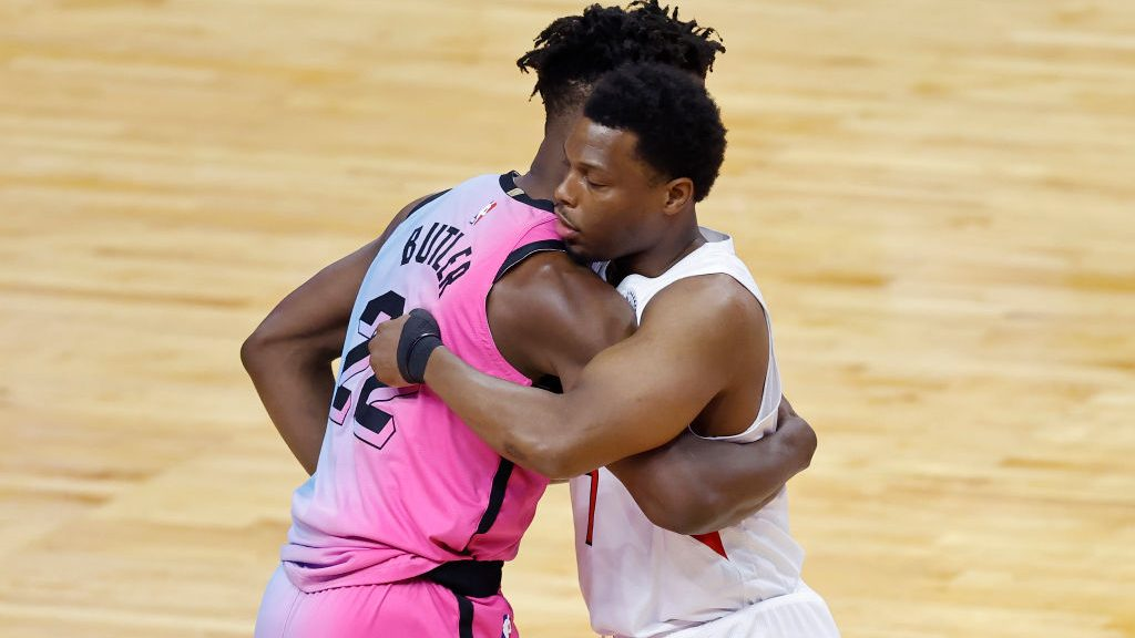 Heat star Jimmy Butler and Raptors guard Kyle Lowry