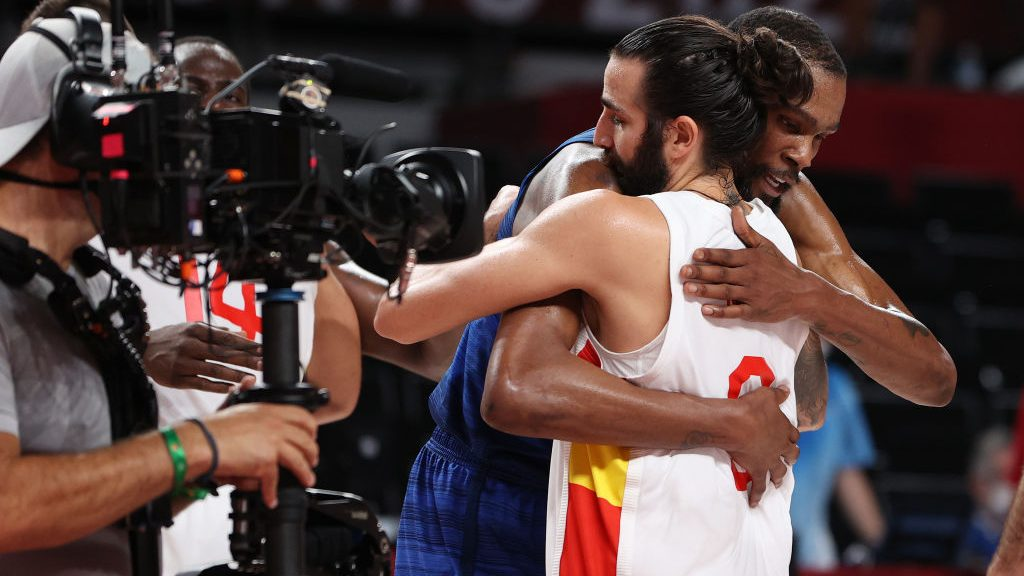 Kevin Durant and Ricky Rubio after Spain v United States (Team USA) Men's Basketball - Olympics: Day 11