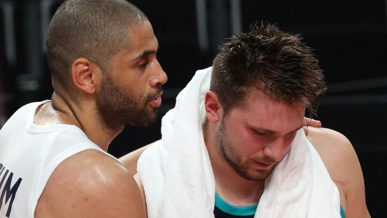 Nicolas Batum and Luka Doncic after France v Slovenia Men's Basketball - Olympics: Day 13
