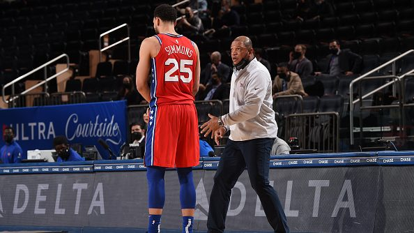 Ben Simmons and 76ers coach Doc Rivers