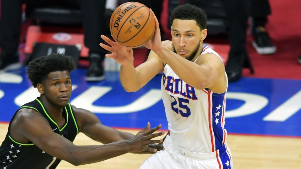 Timberwolves wing Anthony Edwards and 76ers star Ben Simmons