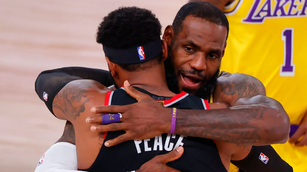 LeBron James and Carmelo Anthony at Portland Trail Blazers v Los Angeles Lakers - Game Five