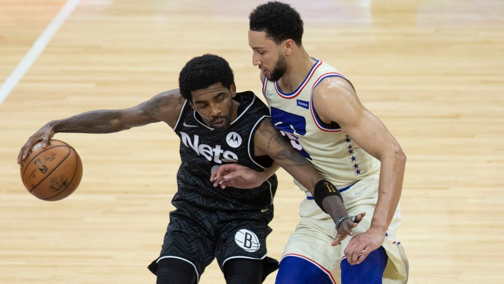 Nets star Kyrie Irving and 76ers star Ben Simmons