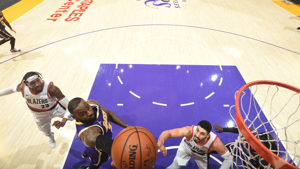 LeBron James and Enes Kanter inPortland Trail Blazers v Los Angeles Lakers