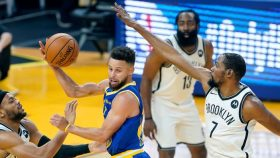 Stephen Curry, Kevin Durant and James Harden in Brooklyn Nets v Golden State Warriors